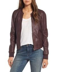 Shrunken leather bomber jacket medium 4977186