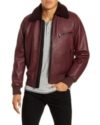 rag & bone Slim Fit Leather Flight Jacket With Genuine