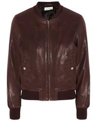 Etoile Isabel Marant Toile Isabel Marant Brantley Leather Bomber Jacket Burgundy