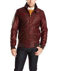 X-Ray Slim Fit Faux Leather Bomber Jacket With A Removable Sherpa Collar