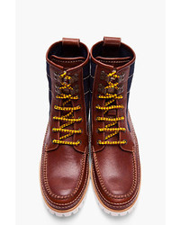DSquared 2 Brown Leather Denim Hiking Boots