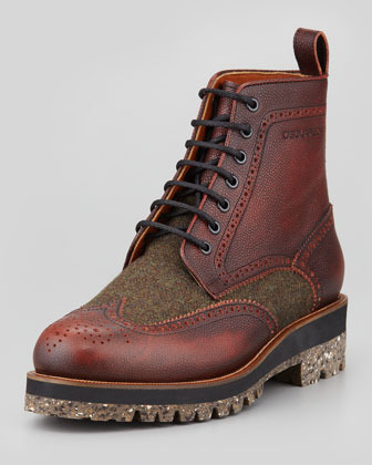 DSquared 2 Leather Tweed Wing Tip Boot Brown