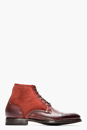 Paul Smith Burgundy Dip Dyed Suede Leather Boots