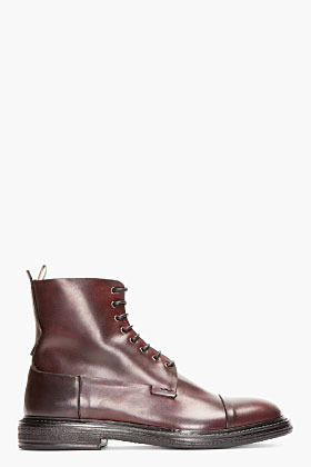 Officine Creative Burgundy Leather Bowling Boots