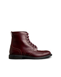 Burberry Brogue Detail Polished Leather Boots