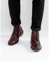 Silver Street Brogue Boots In Burgundy Leather
