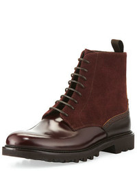 Giorgio Armani Suede Leather Lace Up Boot Burgundy