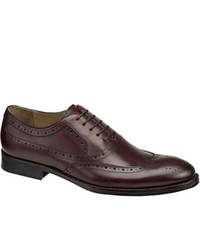 Johnston & Murphy Tyndall Wing Tip Burgundy Italian Calfskin Lace Up Shoes