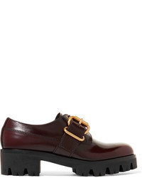 Prada Leather Brogues Burgundy