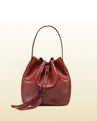 Burgundy Leather Bucket Bag