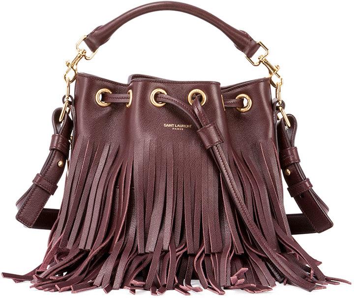 a4758c50bb ... Leather Bucket Bags Saint Laurent Emmanuelle Small Fringe Bucket Bag ...