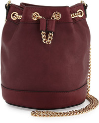 Neiman Marcus Faux Leather Chain Bucket Bag Wine