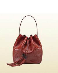 Gucci Lady Tassel Ostrich Bucket Bag