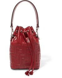 Fendi Mon Trsor Small Embossed Leather Bucket Bag