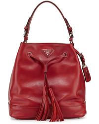 Prada Soft Calf Bucket Bag Redblack