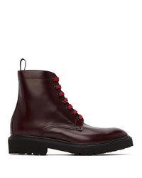 Paul Smith Burgundy Farley Lace Up Boots
