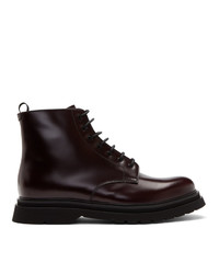 Prada Burgundy Lace Up Boots