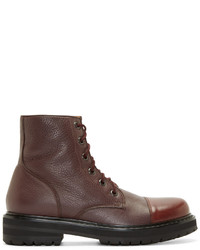 Burgundy leather combat boots medium 349845