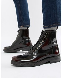 WALK LONDON Wolf Lace Up Boots In High Shine Burgundy
