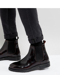ASOS DESIGN Asos Wide Fit Chelsea Boots In Burgundy Leather With Ribbed Sole