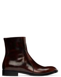 Maison Margiela Burgundy Black Waxed Boots