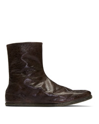 Maison Margiela Burgundy Tabi Flat Ankle Boots