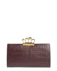 Alexander McQueen Croc Embossed Leather Knuckle Clutch