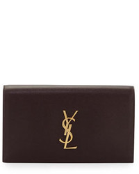 Saint Laurent Monogram Kate Leather Clutch Bag Bordeaux