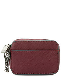 Neiman Marcus Saffiano Faux Leather Coin Pouch Burgundy