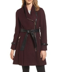 Belted boiled wool blend coat medium 5208951