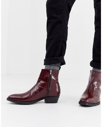 ff92b8649992 ... ASOS DESIGN Cuban Heel Western Chelsea Boots In Burgundy Leather