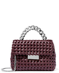 Stella McCartney Becks Woven Faux Leather Shoulder Bag Burgundy