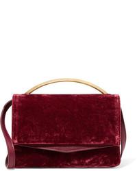 Eddie Borgo Boyd Vanity Leather Paneled Velvet Shoulder Bag Claret
