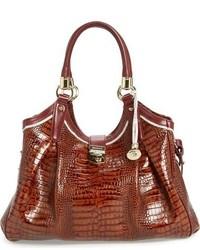 Brahmin Tri Texture Elisa Leather Shoulder Bag Ivory