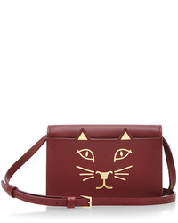 Charlotte Olympia Burgundy Calf Leather Feline Crossbody