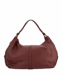 Bottega Veneta Cervo Large Leather Shoulder Bag Bordeaux