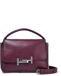 Tod's Double T Leather Shoulder Bag Plum