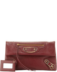 Balenciaga Edge Pebbled Goatskin Envelope Crossbody Bag Dark Red