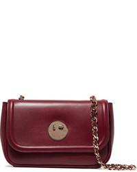 Hill & Friends Happy Chain Leather Shoulder Bag Burgundy