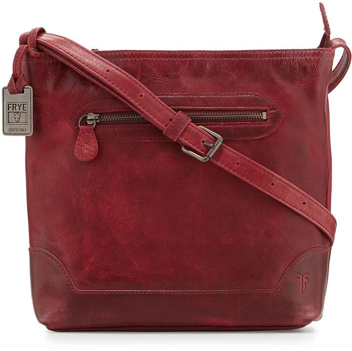 774627079e ... Frye Melissa Tumbled Leather Crossbody Bag Burgundy ...