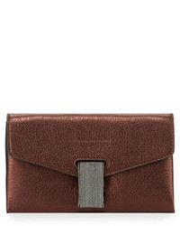 Brunello Cucinelli Mini Envelope Crossbody With Monili Closure Bordeaux