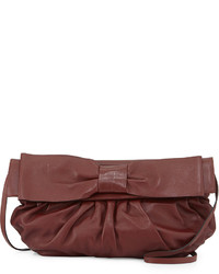 Valentino Pleated Leather Crossbody Bag Burgundy