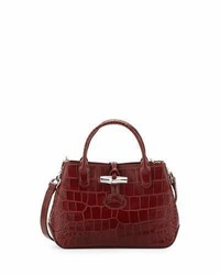 Longchamp Roseau Crocodile Embossed Mini Crossbody Bag Mahogany