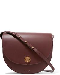 Mansur Gavriel Saddle Leather Shoulder Bag Burgundy