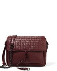 Bottega Veneta Saddle Small Intrecciato Leather Shoulder Bag Burgundy