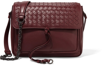 c858bb63b6 ... Bottega Veneta Saddle Small Intrecciato Leather Shoulder Bag Burgundy  ...