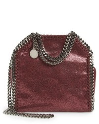 Stella McCartney Tiny Falabella Metallic Faux Leather Crossbody Bag Red