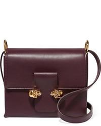 Alexander McQueen Twin Skull Leather Shoulder Bag Grape
