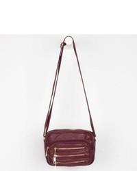 Under One Sky Three Zip Crossbody Bag Burgundy One Size For 228091320