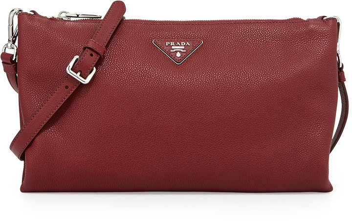 c1f19aa26a95 ... Leather Crossbody Bags Prada Vitello Daino Crossbody Bag Burgundy ...